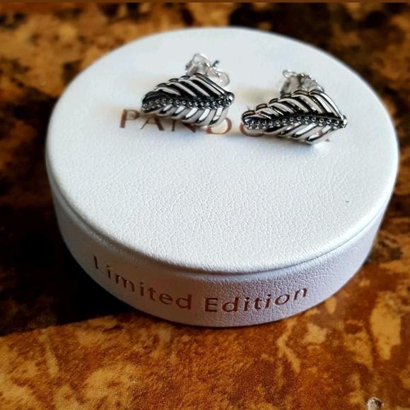9d003165a16f2d Pandora Jewelry   Shimmering Feathers Stud Earrings   Poshmark